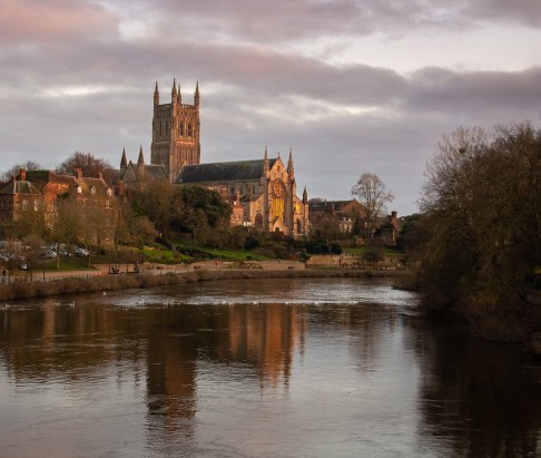 Worcester Cathedral from a distance at sunset