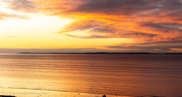 Golden sunset over a bay