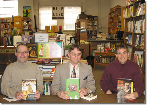 "Dan Levitt, author of Ed Barrow: The Bulldog Who Built the Yankees' First Dynasty, Peter Schilling, author of The End of Baseball, and Tom Swift with Chief Bender's Burden appeared at the ""Big Baseball Book Bonanza"" at Magers & Quinn Booksellers on April 12."