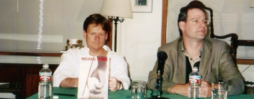 At joint signing with Michael Lewis