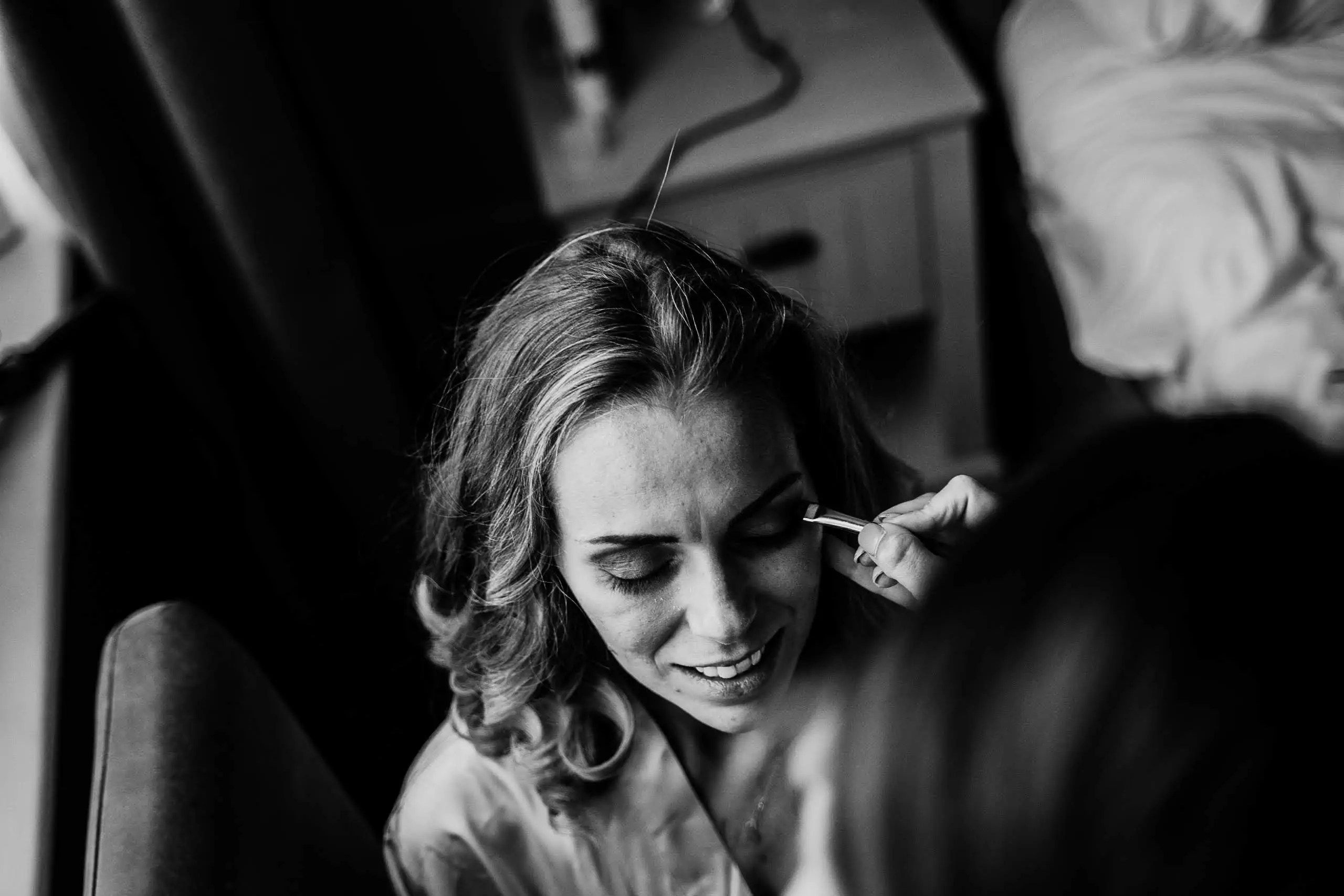 A bridesmaid is having her hair and makeup done at Hotel du Vin, Brighton