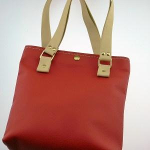Handtasche rot-beige