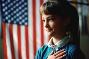 Girl Pledging Allegiance to the Flag