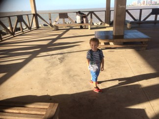 Antonio running riot on this pier- enjoying the last few outings as an only child