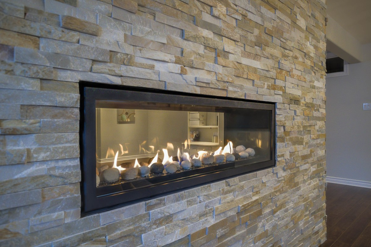 Fireplace with Cultured Stone Closeup