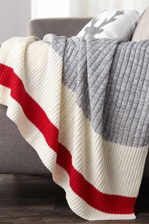 Wool-sock stripe throw