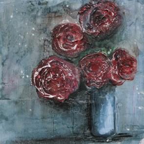Abstrakte Rosen, eine Bilderserie - Mixed Media Art, artforsale - Aus dem Art Journal zur Bilderserie mit Video Tutorial - Daniela Rogall
