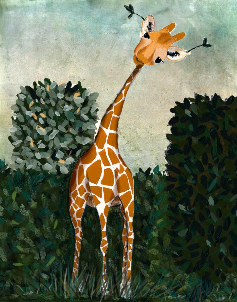 illustration_giraffe in a garden_original