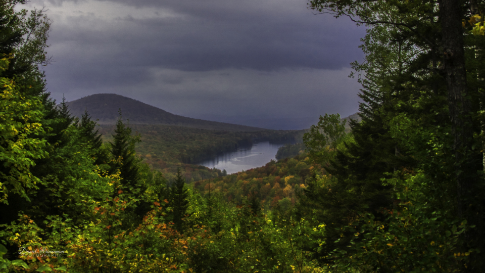 view from the shelter at Owl's Head Mountain while it rained