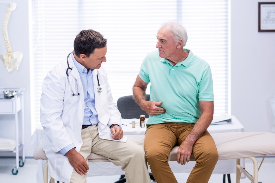 man with lyme disease and shingles at doctor's office