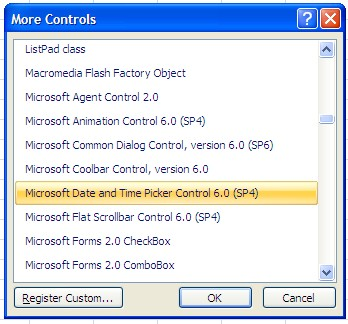 how to add a dropdown calendar in excel 2007