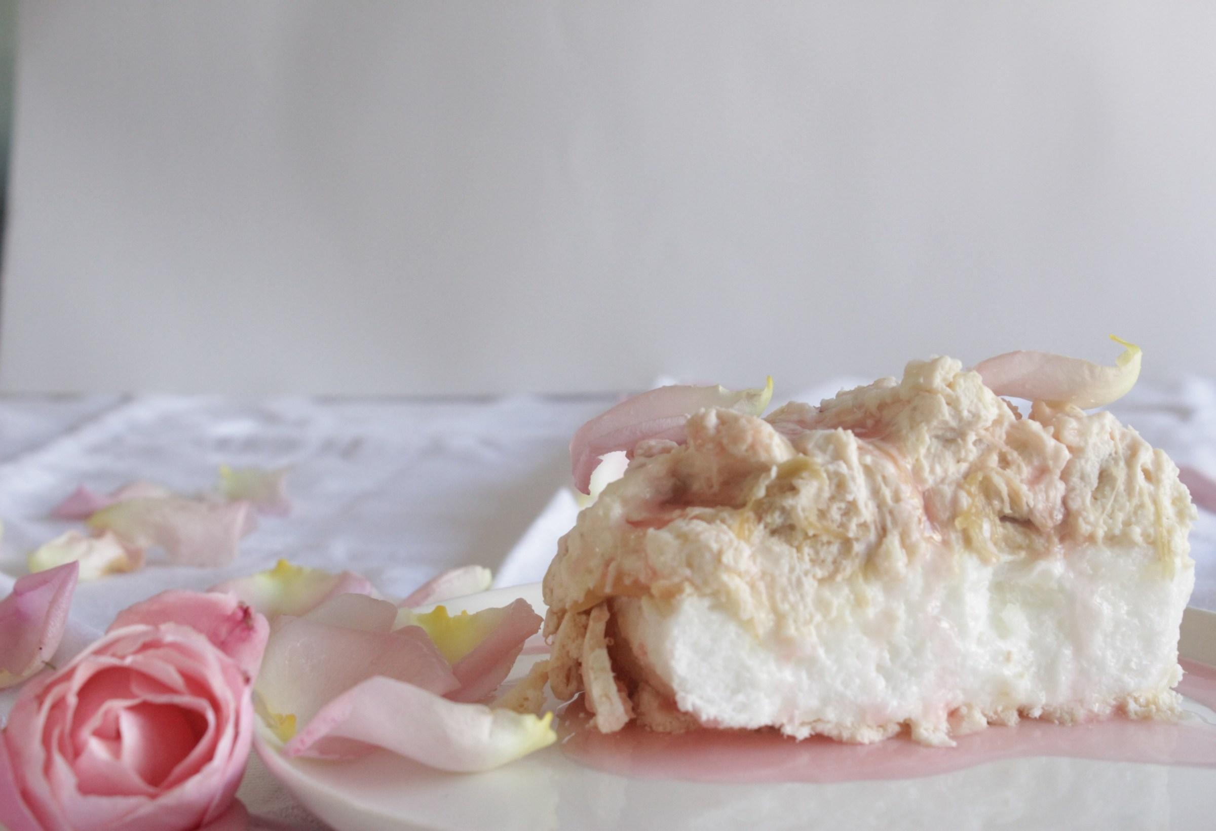 Rhubarb, rose water & white chocolate pavlova