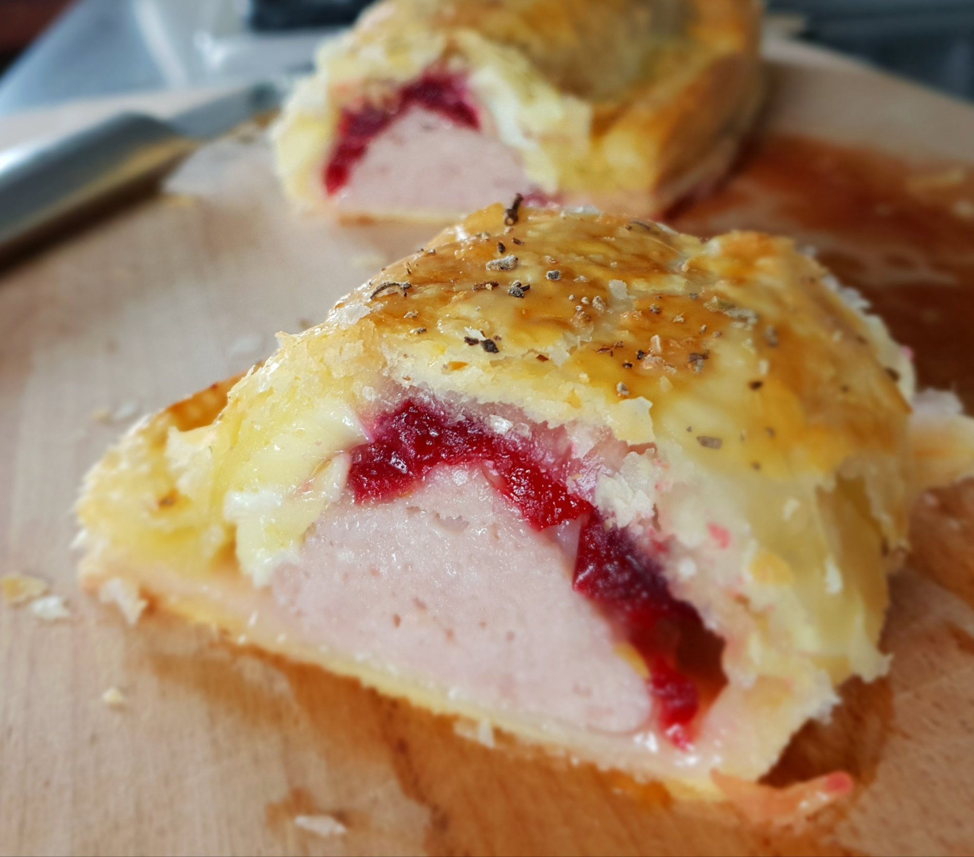 christmas sausage rolls brie and cranberry