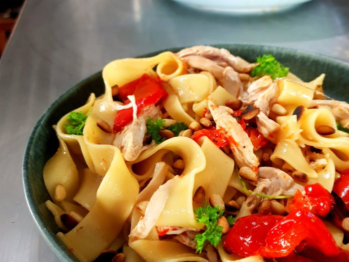 Papperdelle and roast chicken
