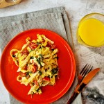 Harissa Prawn, spinach & Spaghetti