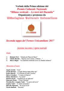 Sezione racconto edito MENZIONE D'ONORE - Unica - Milano