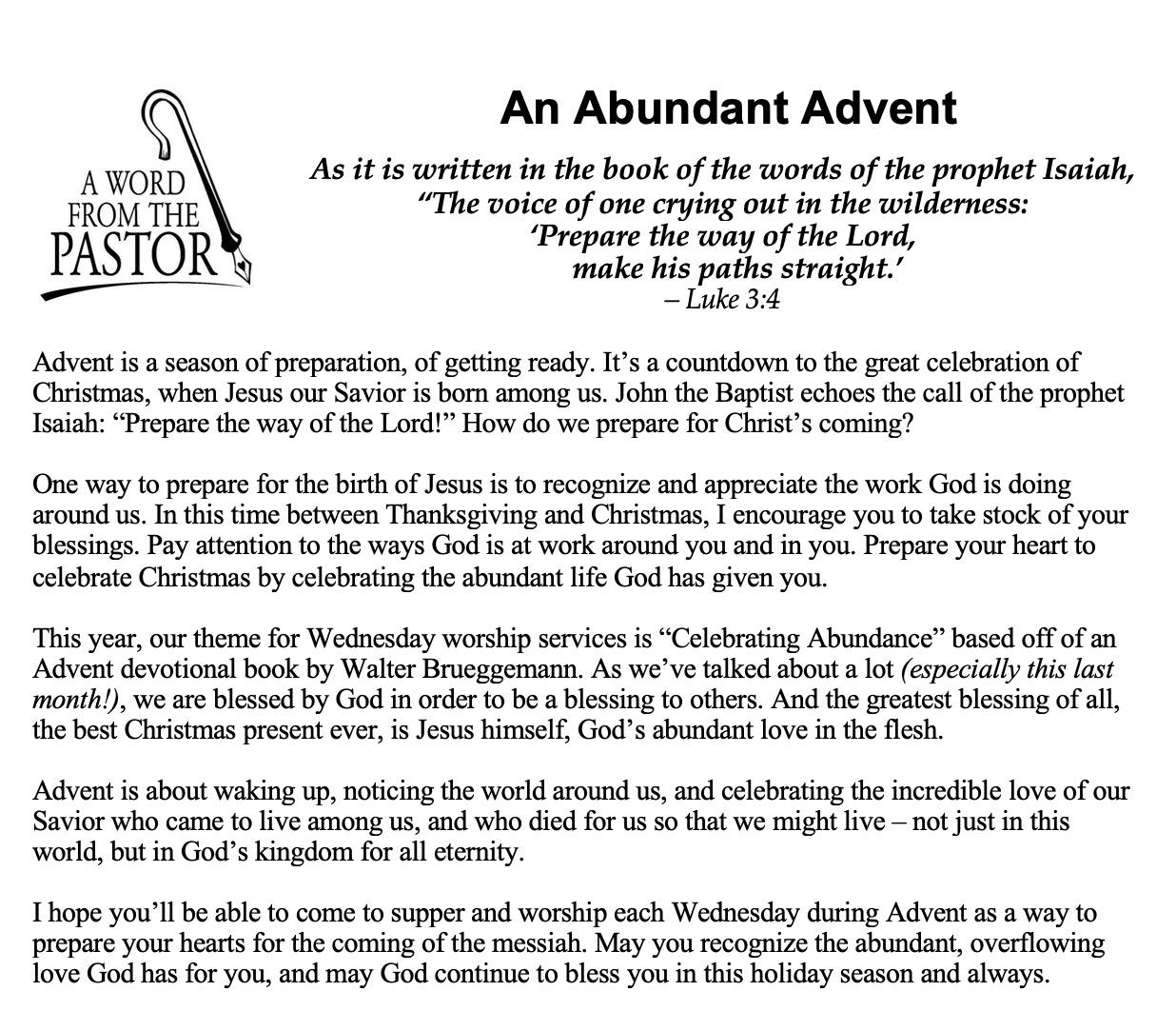 An Abundant Advent - Newsletter - Daniel Flucke