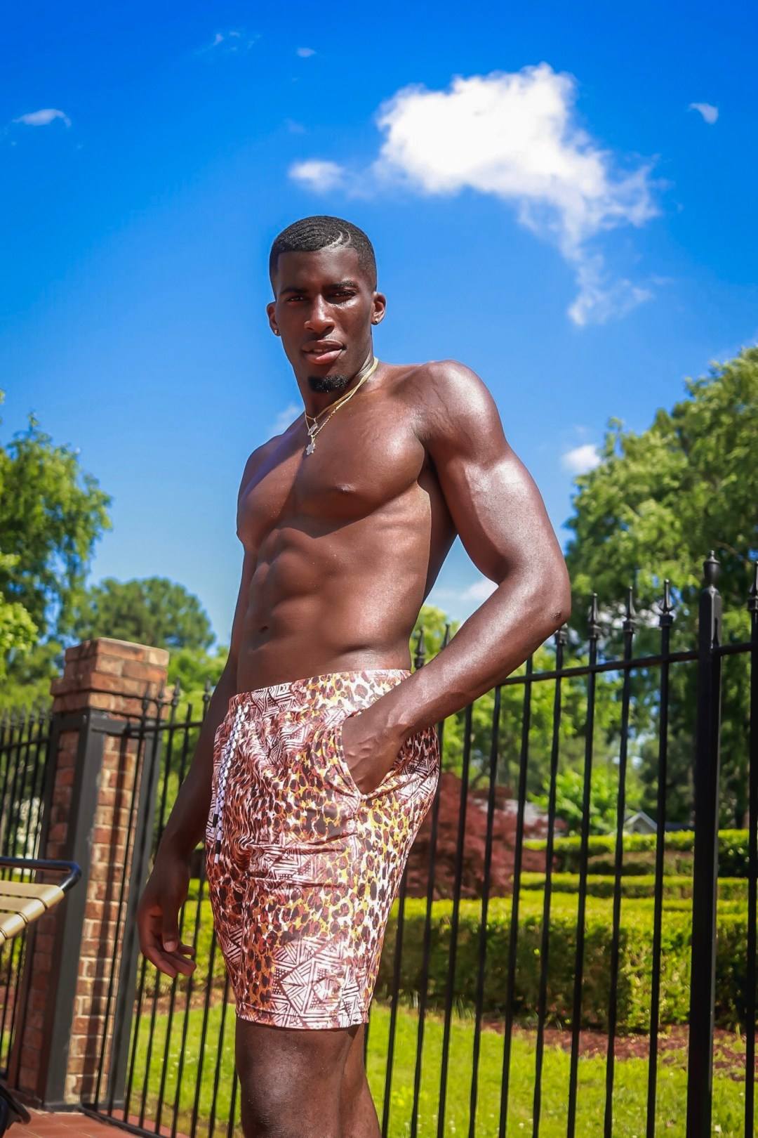 Men's Fashion, Swimsuit, Cheetah-Print Swimming Trunks, Baecation, Black African-American Model, Daniel Obiefuna Nwandu, Fondu, Portrait Photography, Nigerian Igbo Male Model, Actor, Artist, Designer, Commissioner of Reflex Football, RFB