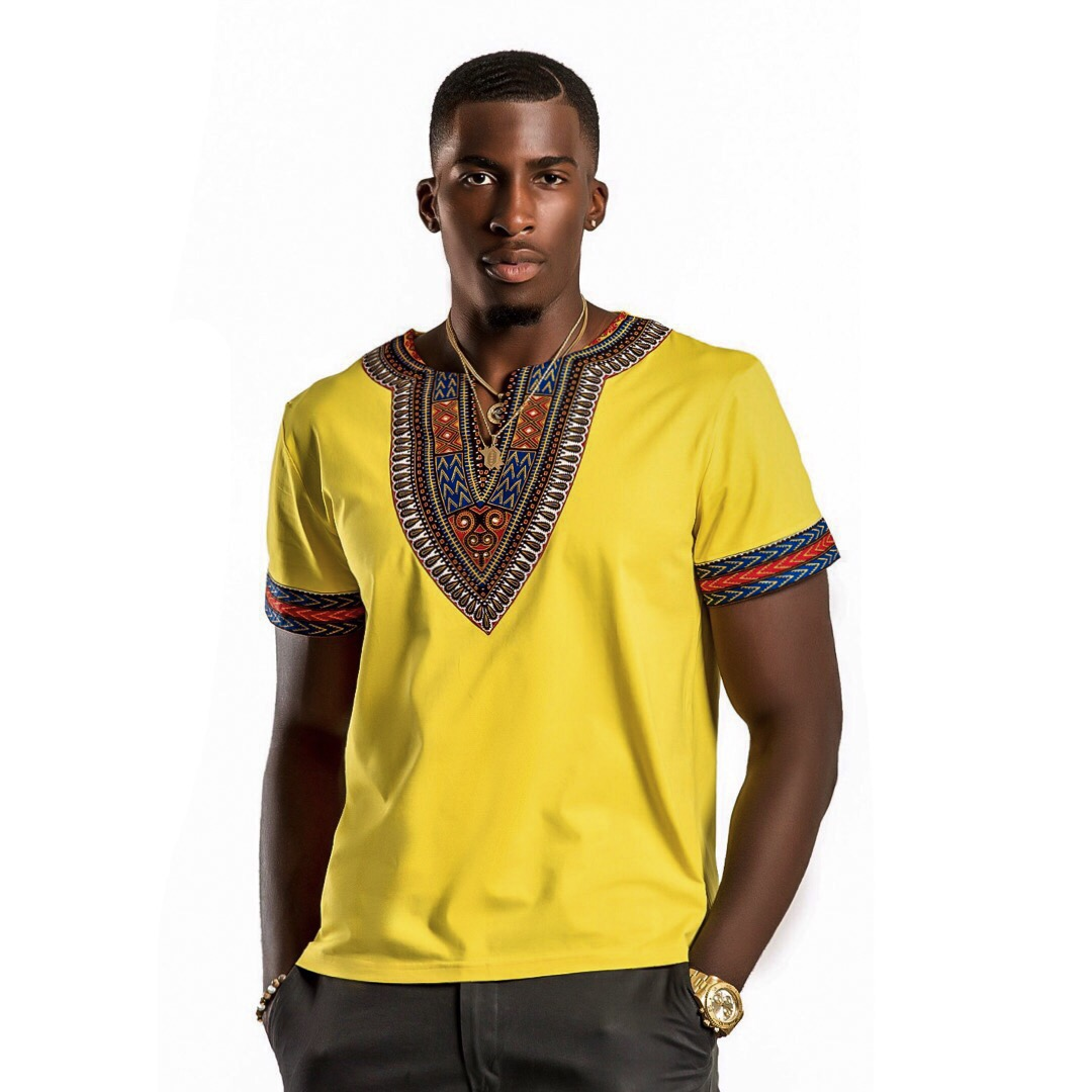 Robert Harvey Photography, Afrilege, Yellow African T-Shirt, Men's Fashion, Daniel Obiefuna Nwandu, Fondu, Studio Photography, Nigerian Male Model, Artist, Designer, Commissioner of Reflex Football