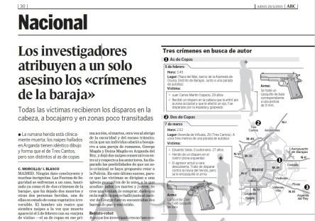 noticias de periódico y titulares, el asesino del naipe actúa en madrid