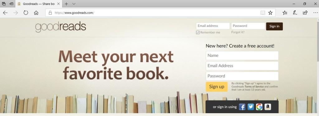 pagina de inicio de goodreads