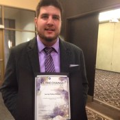 Be The Change award winner - Lee-Jay Cluskey-Belanger - at the Student Life Awards, 2015