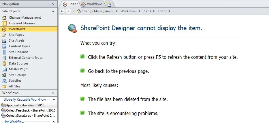 problems creating list workflows in sharepoint designer 2010 for