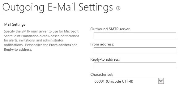SharePoint Server 2013 Outgoing Email Settings