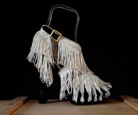 Bastardisation #4, 2014, fringes and ribbons on cross-string sandal, size n37 unique piece