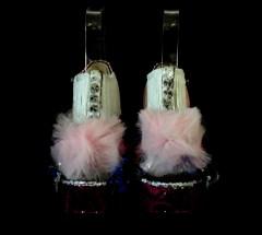 Bastardisation #16, 2014, fringes, studs, hand-sewn sequins, tulle, silver leaf and spray paint on sandal, size n38 unique piece