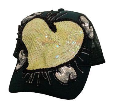 Cap Heart #16, hand-sewn sequins decoration on trucker cap, unique size, unique piece