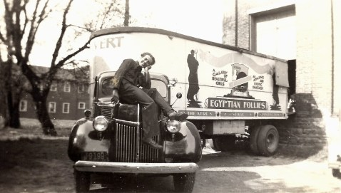 Man on Egyptian Follies truck