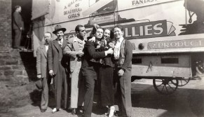 Egyptian Follies cast at back of truck