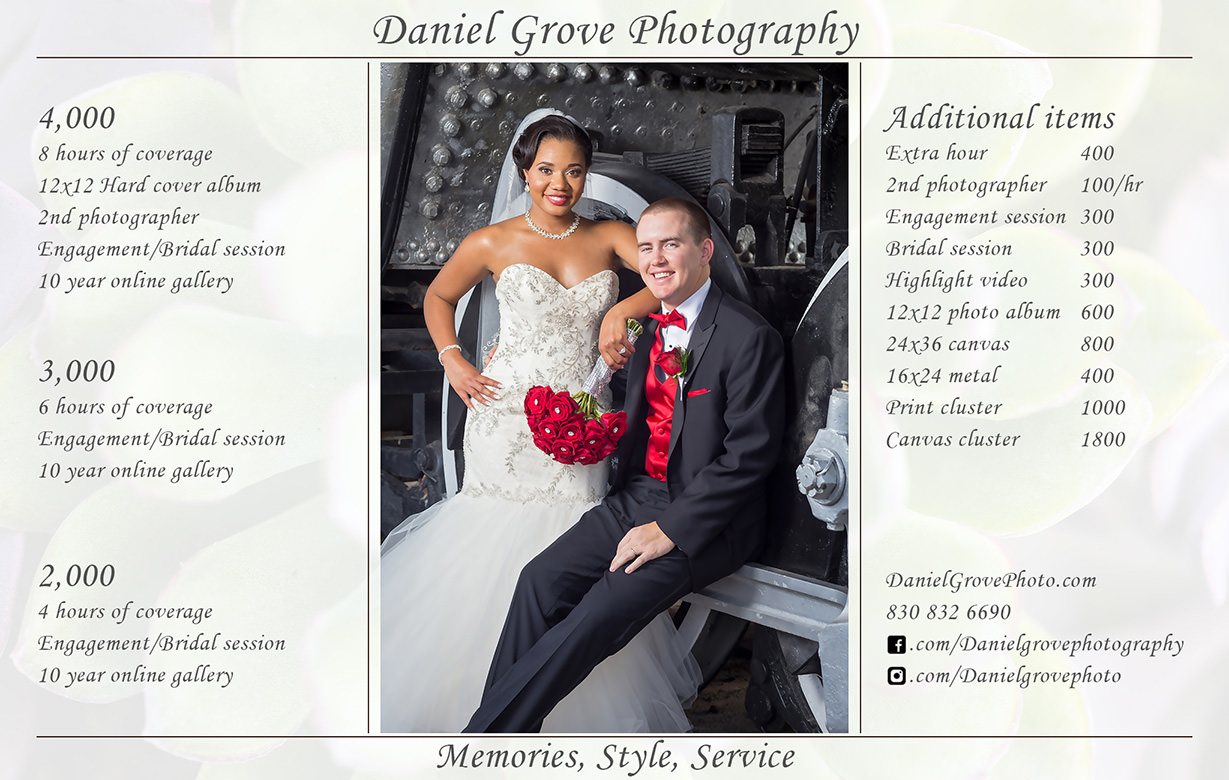 Wedding Packages - Daniel Grove Photography