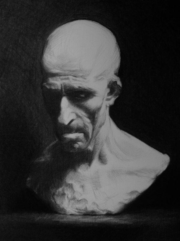 Charcoal portrait: Fisherman