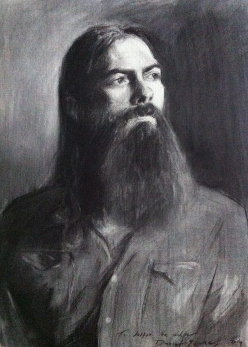 Charcoal portrait: Justin the musician