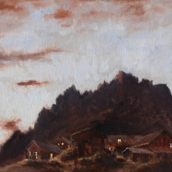 Oil landscape: Dusk behind the Alps