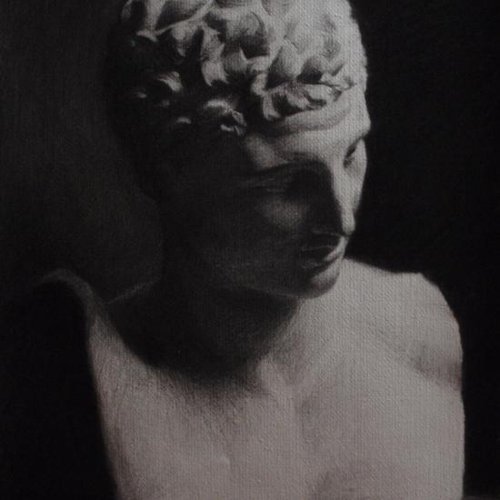 Charcoal of Greek bust