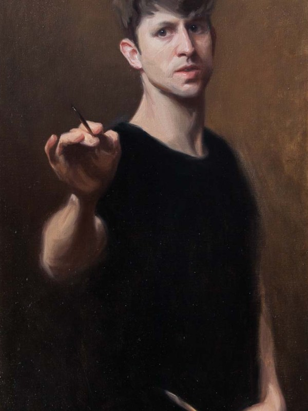 A Self portrait by artist Daniel James Yeomans painted in oils on canvas