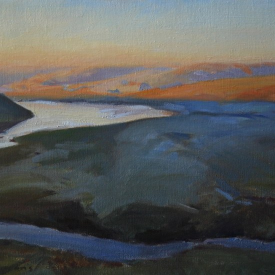 oil painting of a winter sunrise in Elan Valley
