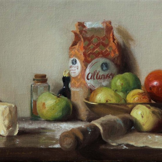 still life painting of apples, pastry and pie ingredients