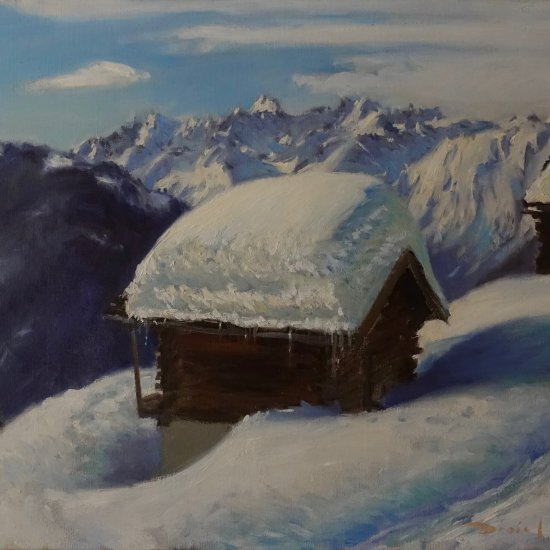 Oil painting from Verbier. Lenticular clouds over the Mont Blanc Massiv