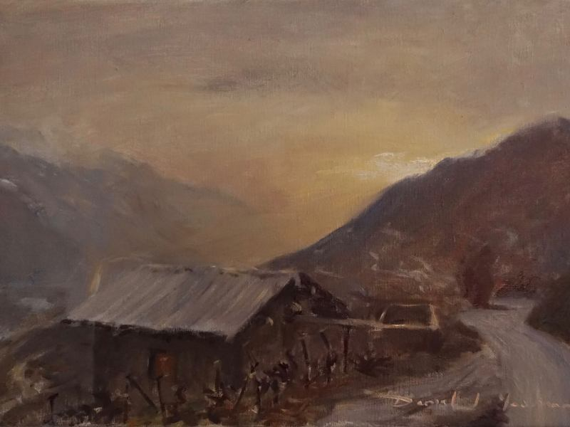 plein air oil painting of wine country in Winter. Crans Montana