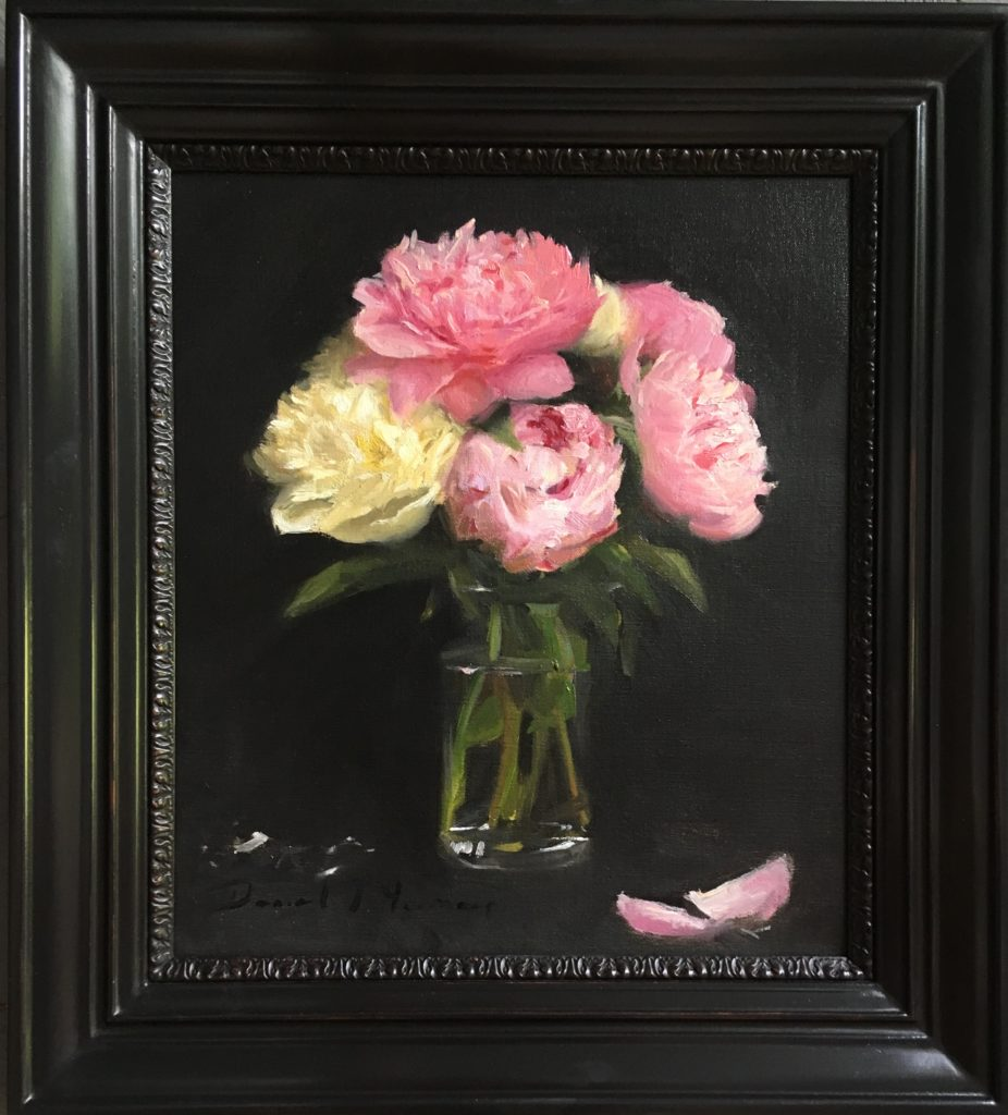 Still life painting of Peonies in a vase by Daniel James Yeomans