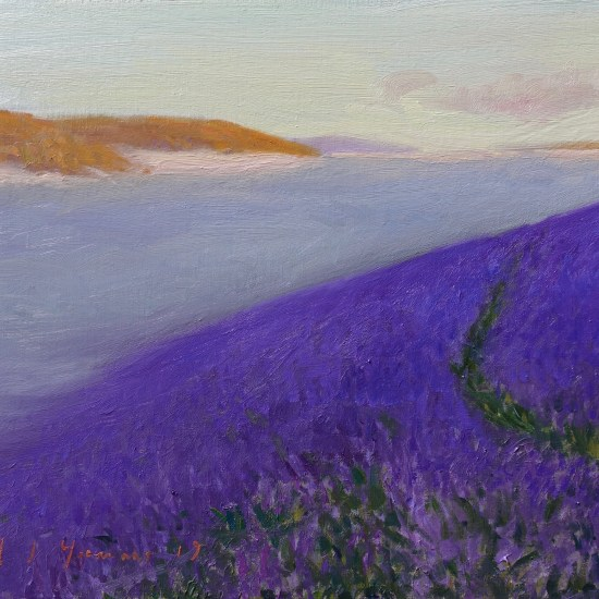 An oil painting of Bluebells above the fog. Welsh landscape. Oil on canvas