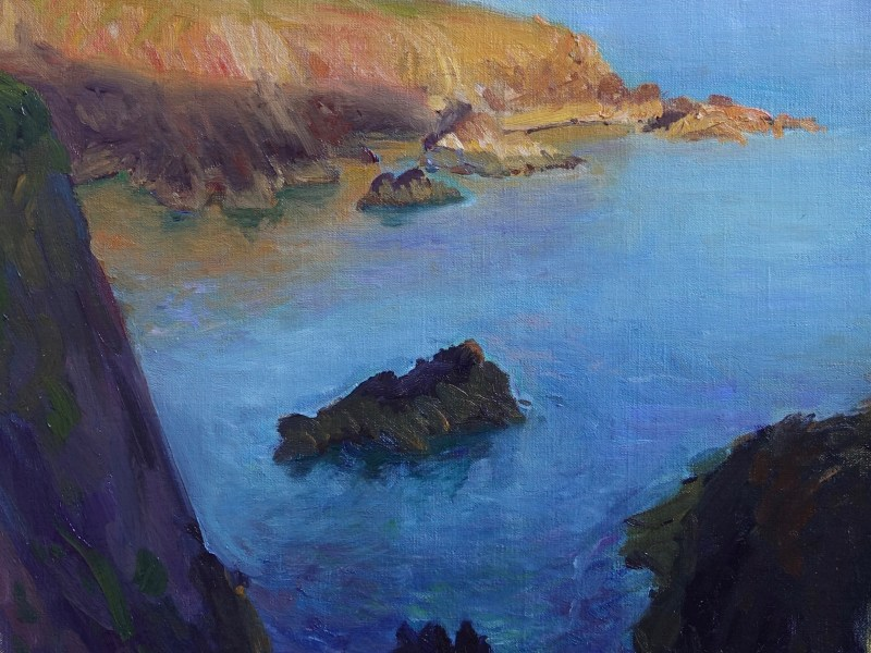 oil painting of evening sun effect on the cliffs by St Davids, Pembrokeshire