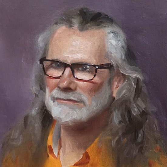 A portrait painting of Tim Tolkien by Daniel J Yeomans