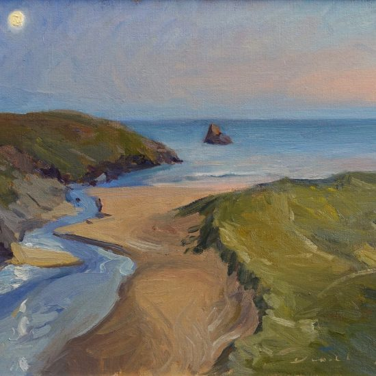 Broad haven beach with moonlight , Pembrokeshire