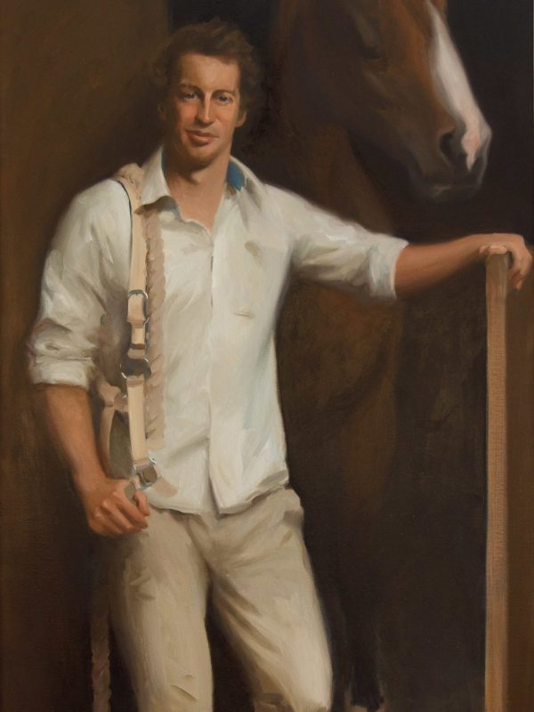 An Equestrian portrait painting of Johnny & Bridey