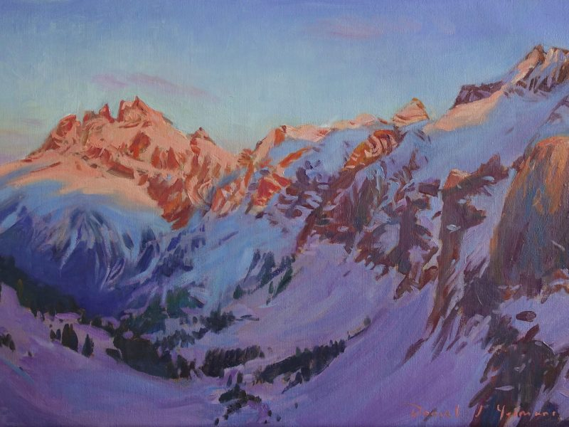 An oil painting of Dents du midi, Champery